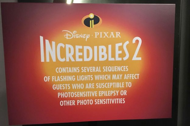 A video bumper for Incredibles 2 with a warning about photosensitive epilepsy